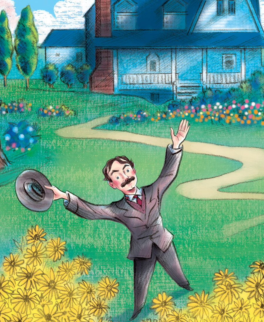 above  is a close-up view of the  final illustration , depicting Edwin enjoying the vibrant colors in his world