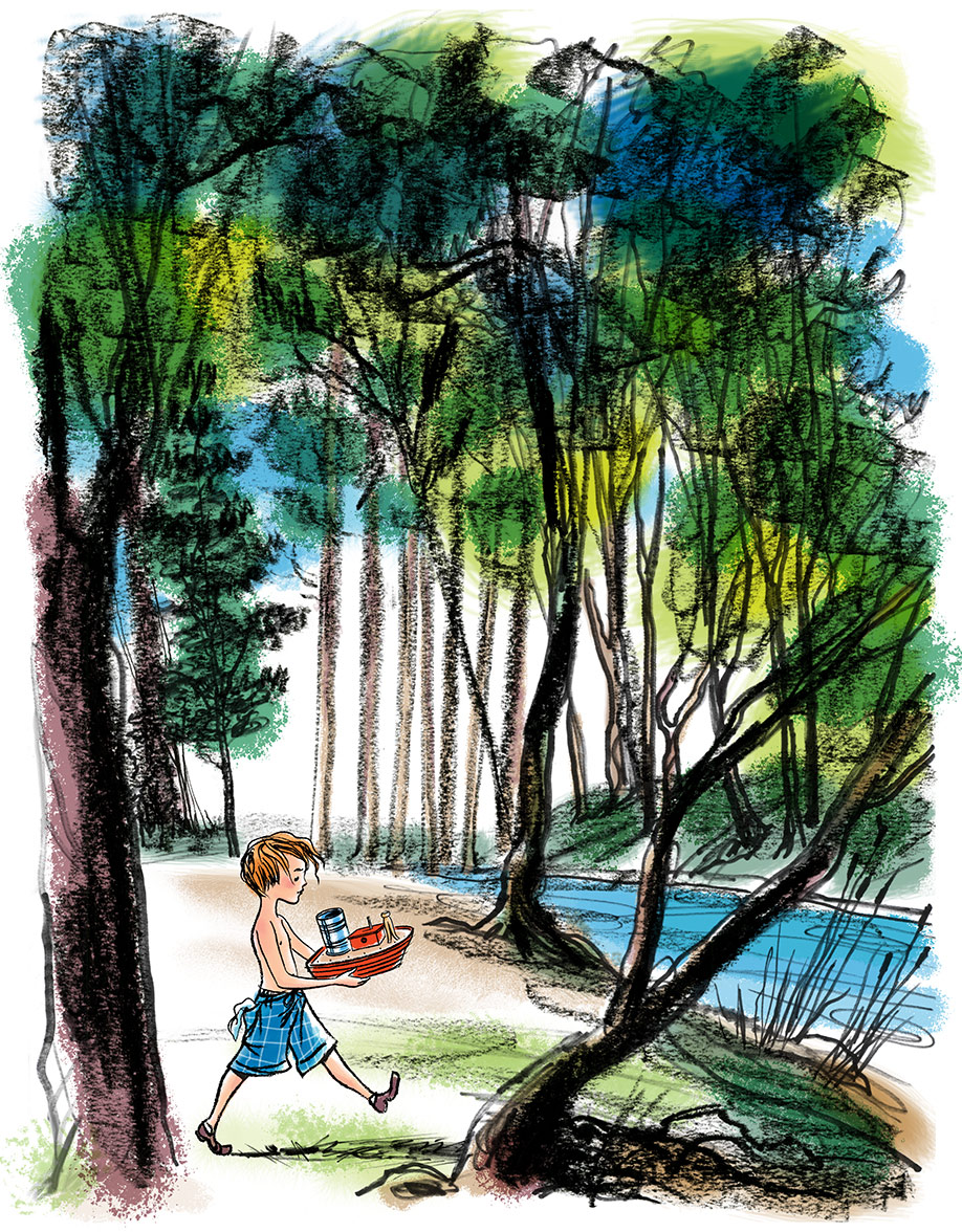 a preliminary test illustration (character study) for  The Friend Ship , a new picture book story written by Steven Salerno, which depicts little Mike bringing the wooden toy boat (that his Grampy made for him) to the stream nearby…