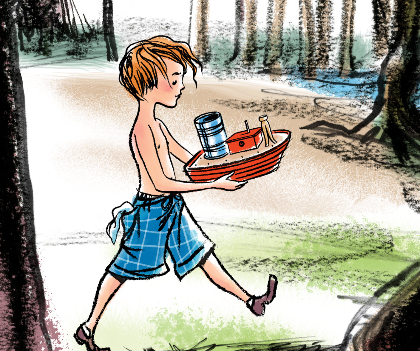 (DETAIL VIEW) a preliminary test illustration (character study) for  The Friend Ship , a new picture book story written by Steven Salerno, which depicts little Mike bringing the wooden toy boat (that his Grampy made for him) to the stream nearby…