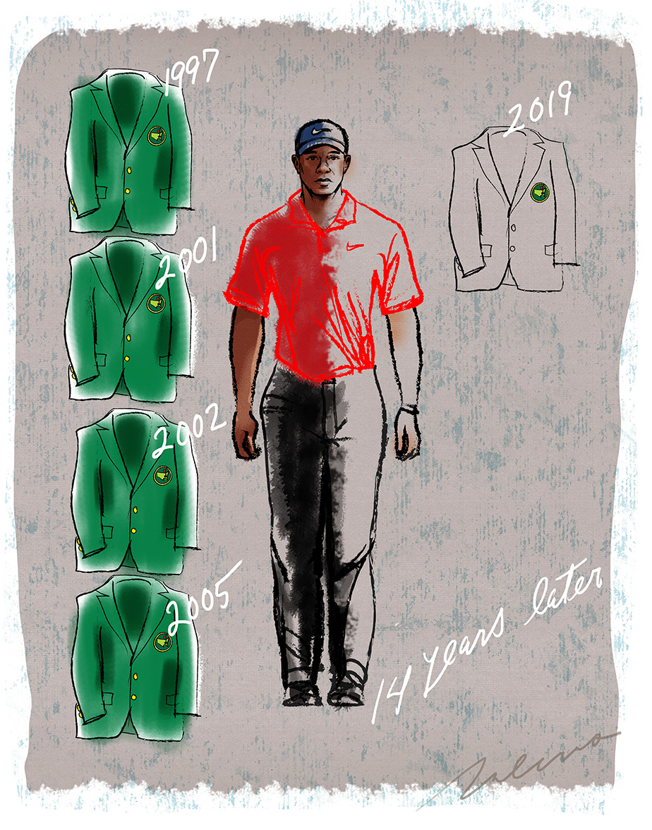 Can Tiger win a 5th Green Jacket 14 years after his last Masters victory? -illustration by Steven Salerno -visit stevensalerno.com