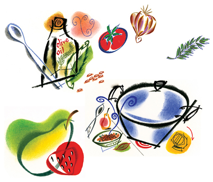 ^  a series of light & whimsical illustrations by  Steven Salerno  created in the early '90's for  PESTO , a cookbook published by   Chronicle Books   (crayon, colored pencil, pastel)