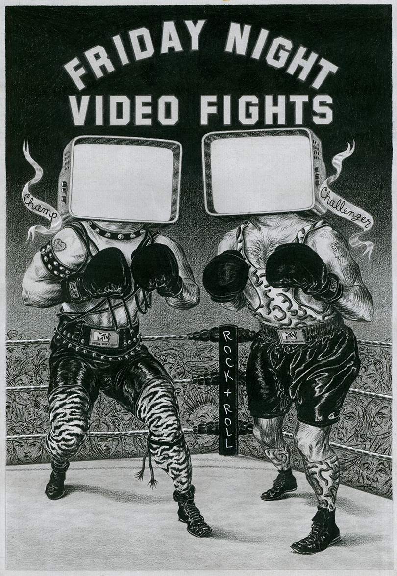 ^  an illustration from the early 1980's created by  Steven Salerno  for the  new  television channel,  MTV  -for their segment,  Friday Night Fights  -the interior of the boxer's screen heads were animated. (litho crayon on paper)