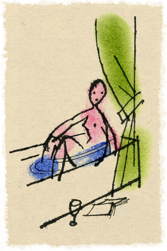 ^ woman in bath - one of  Steven Salerno's  ink drawings (using a crowquill pen) within a series of small drawings created in 1992 for   The New Yorker     magazine. (The pastel coloring seen in the drawing was added at a later date)
