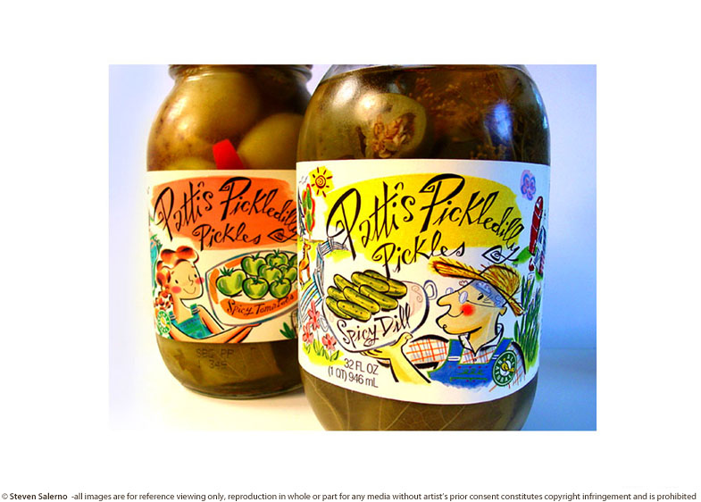 ^  packaging label illustration created for   Patti's Pickledilly Pickles     (from series of 4 various labels)