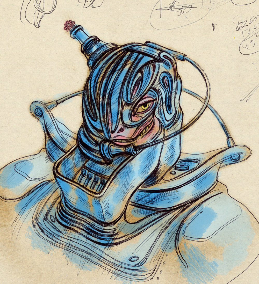 an alien creature  wearing a protective helmet and suit that is integrated with his body and face… sketch by  Steven Salerno . Visit  stevensalerno.com  to view many more of his curious alien creature sketches.