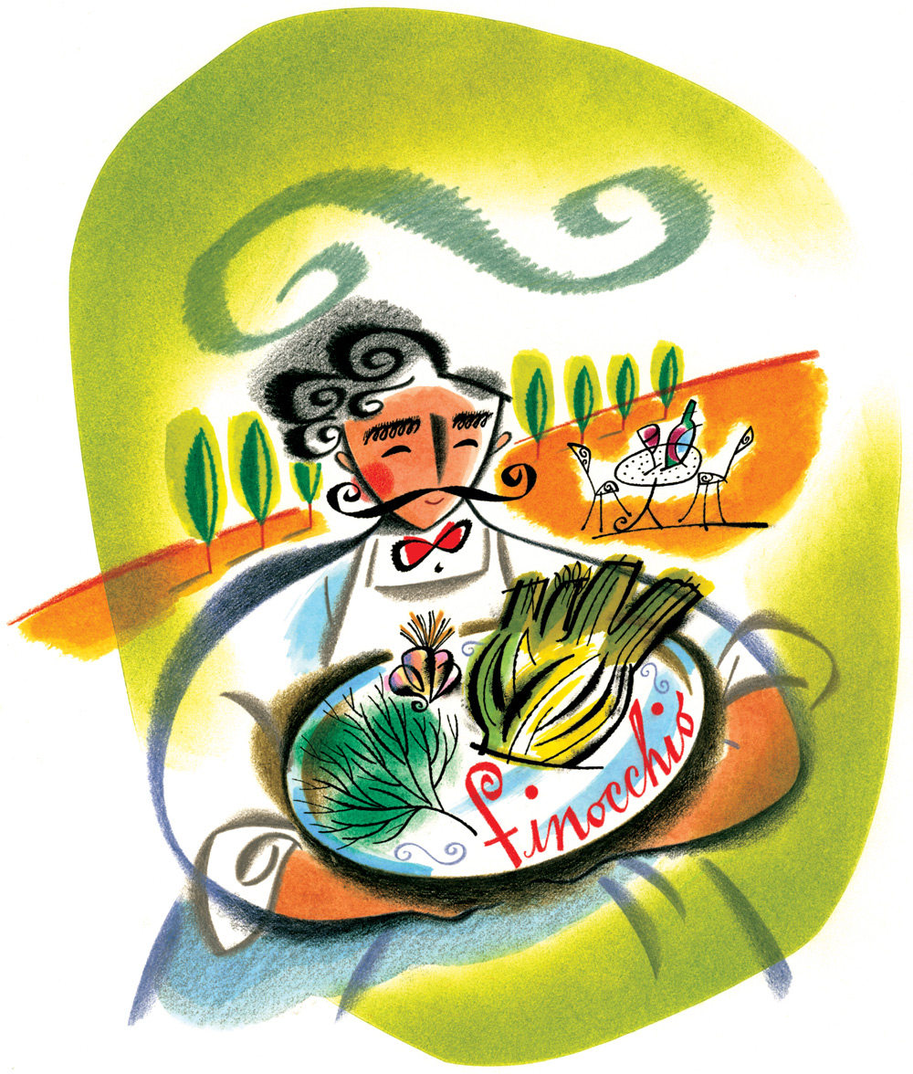 ^  an editorial illustration by  Steven Salerno  created for     Traditional Home   magazine -an article on cooking with  finocchio
