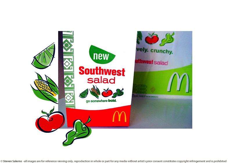 ^  advertising illustrations by  Steven Salerno  created for   McDonald's   restaurants for  Southwest Salad  promotions and packaging