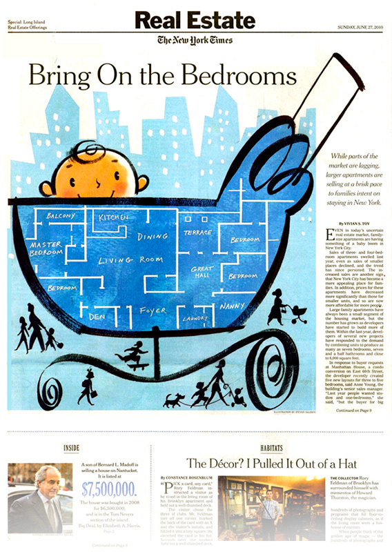 ^  an editorial illustration by  Steven Salerno  created for   The New York Times   for an article on large apartments for large families in the city. (view of the entire printed page)