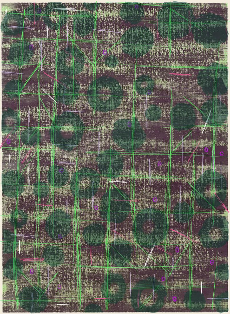 Forest Floor 1  -rug design/preliminary drawing  Steven Salerno  © 2019