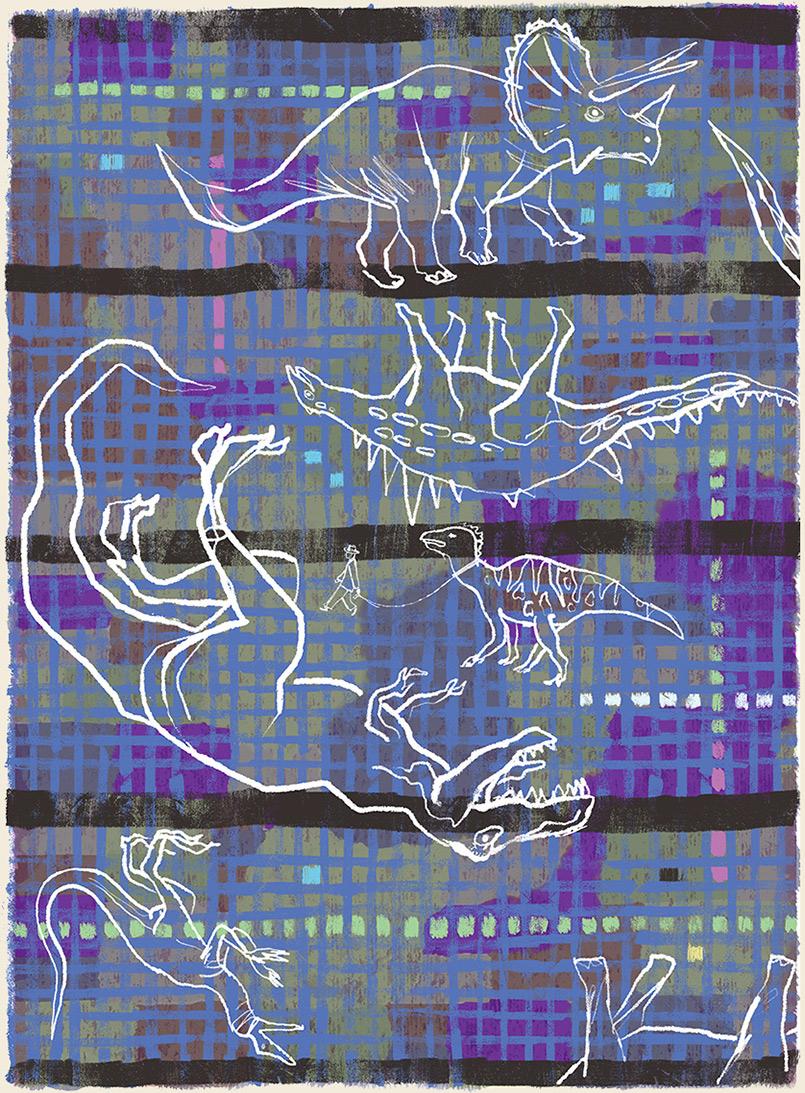 Walk the Dino  -rug design/preliminary drawing  Steven Salerno  © 2019