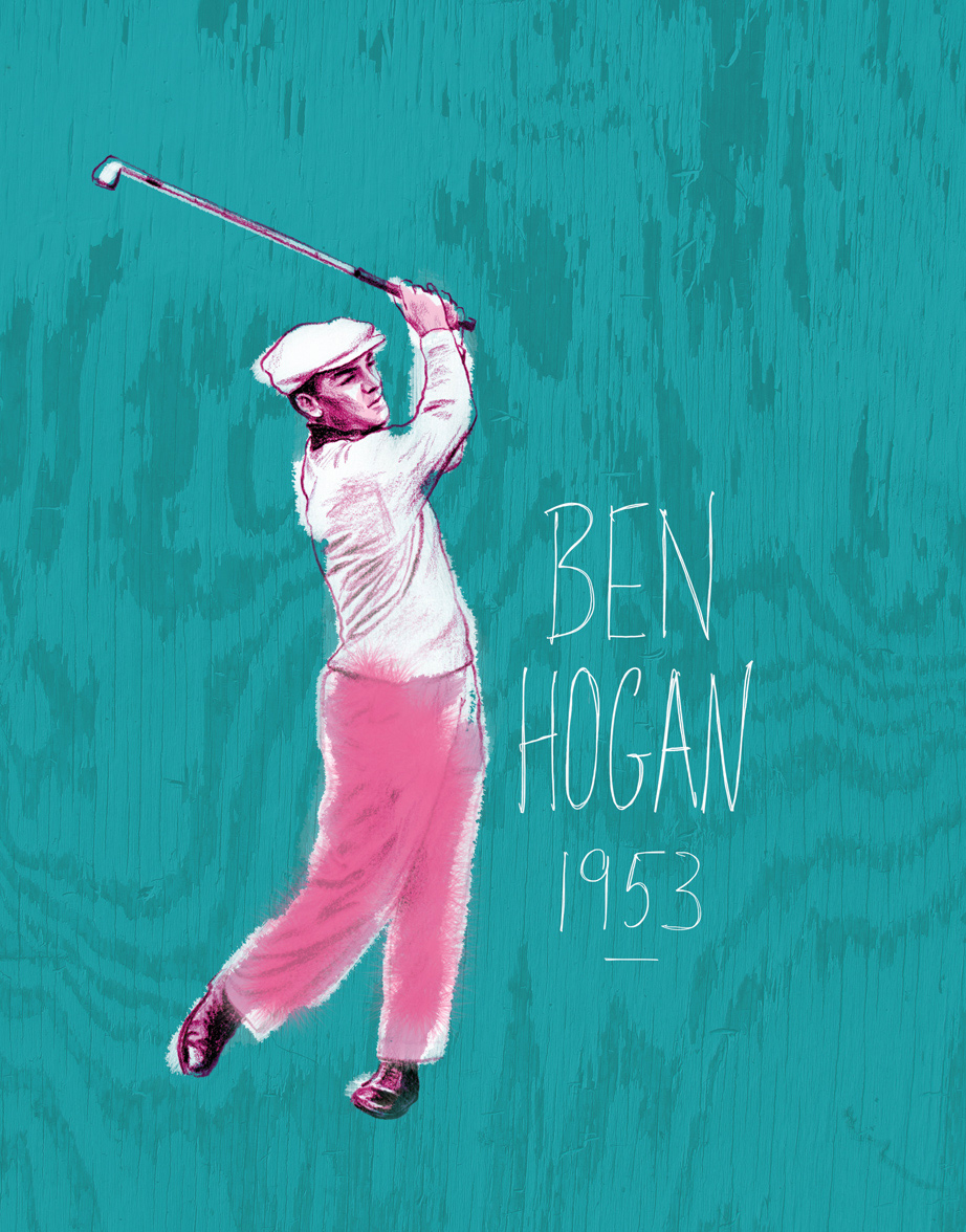 ^  portrait of American golfing legend,   Ben Hogan     1953   (crayon, gouache, wood grain, digital)