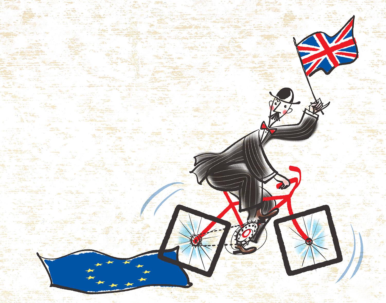 ^  Brexit -Not So Smooth of an Exit?  -illustration by  Steven Salerno - visit  stevensalerno.com