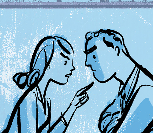 above is a detail of the FINAL ILLUSTRATION  -the stressed out couple arguing.