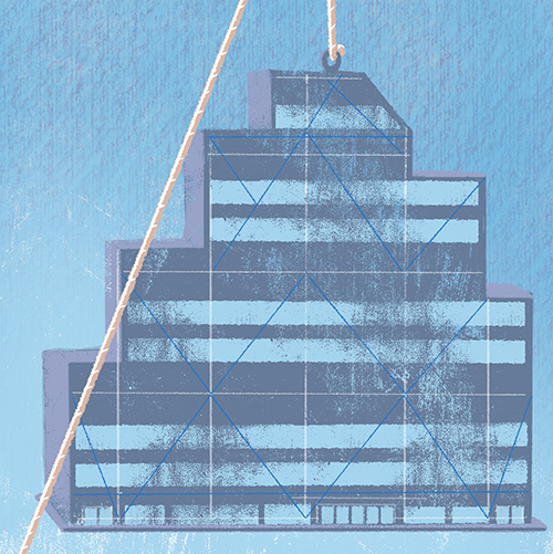 above is a detail of the FINAL ILLUSTRATION  -the office building hanging above the couple.