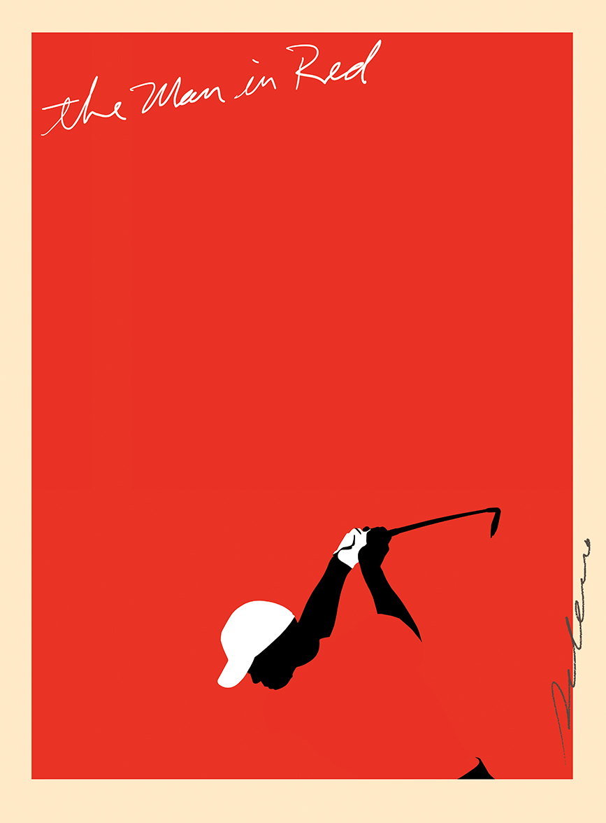 ^  one of  Steven Salerno's  golf art drawings…  The Man in Red  /Tiger Woods (gouache/digital)