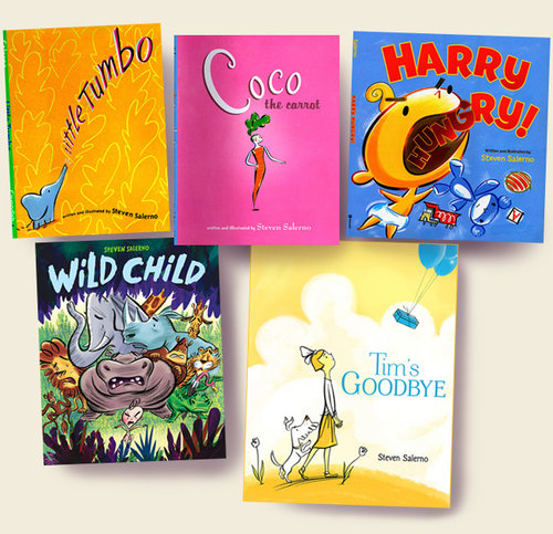 ^  to date  Steven Salerno  has illustrated 30 fiction & non-fiction picture books for kids, of which 5 of the titles he is both the author & illustrator:  Little Tumbo ,  Coco the Carrot ,  Harry Hungry! ,  Wild Child , and his most recent author/illustrator title,  Tim's Goodbye,  in 2018