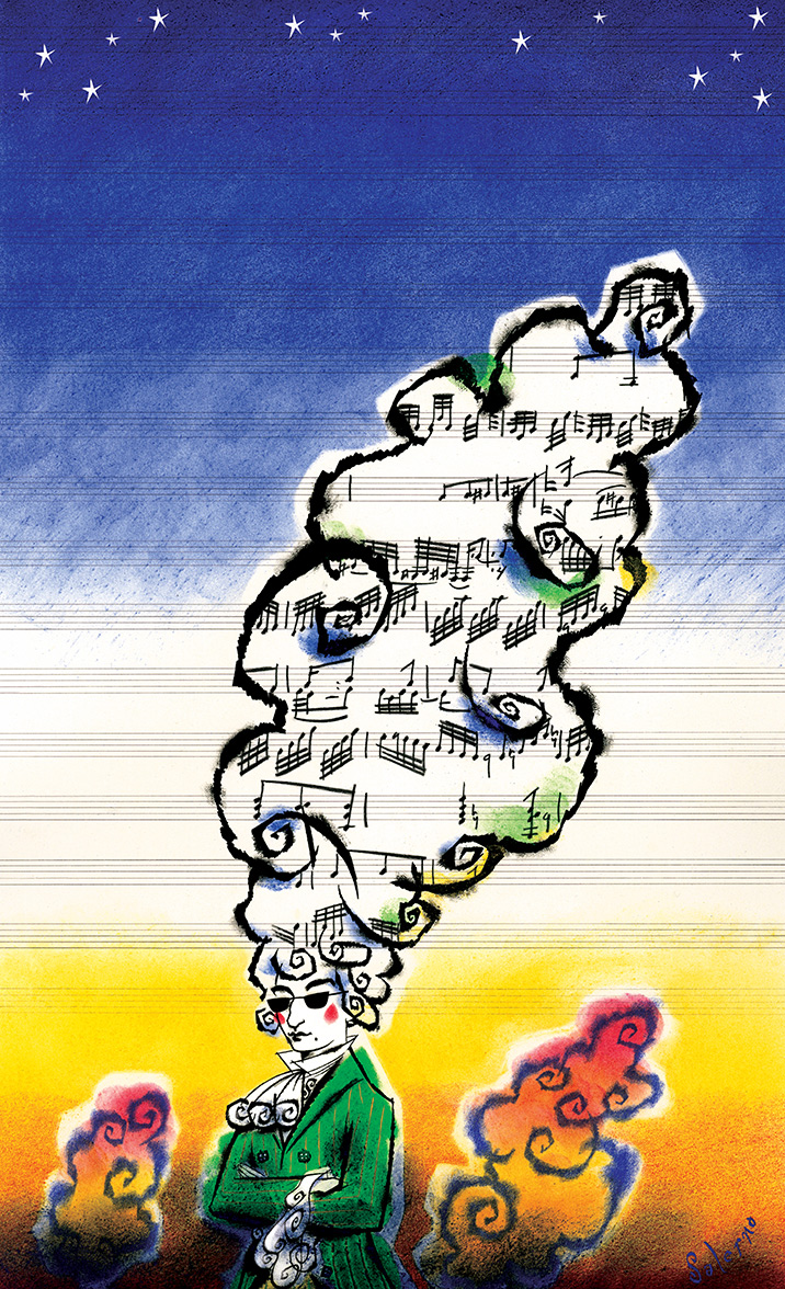 ^  one of  Steven Salerno's  posters from the mid-1990's created for   The Baltimore Symphony Orchestra     -for their Mozart series. (ink, crayon, pastel)