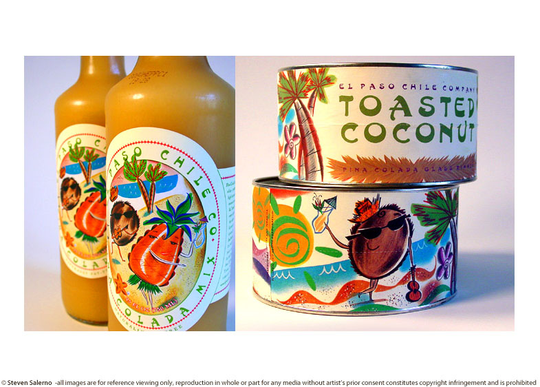 ^  packaging illustrations by  Steven Salerno  created for     El Paso Chile Company   -for exclusive sale through  Williams-Sonoma