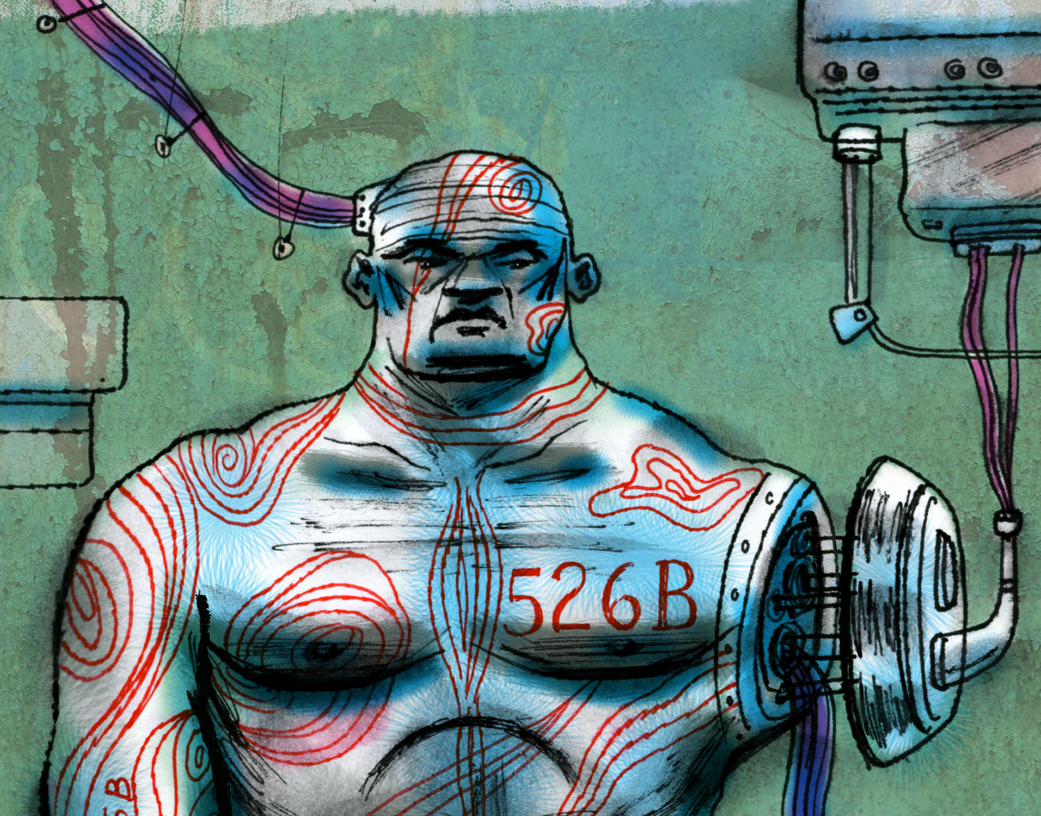 above ^  Sci-Fi character sketch (DETAIL) by  Steven Salerno … a cyborg warrior repair station depicting a unit having its arm being repaired and replaced. (ink/gouache/collage/digital) visit  stevensalerno.com