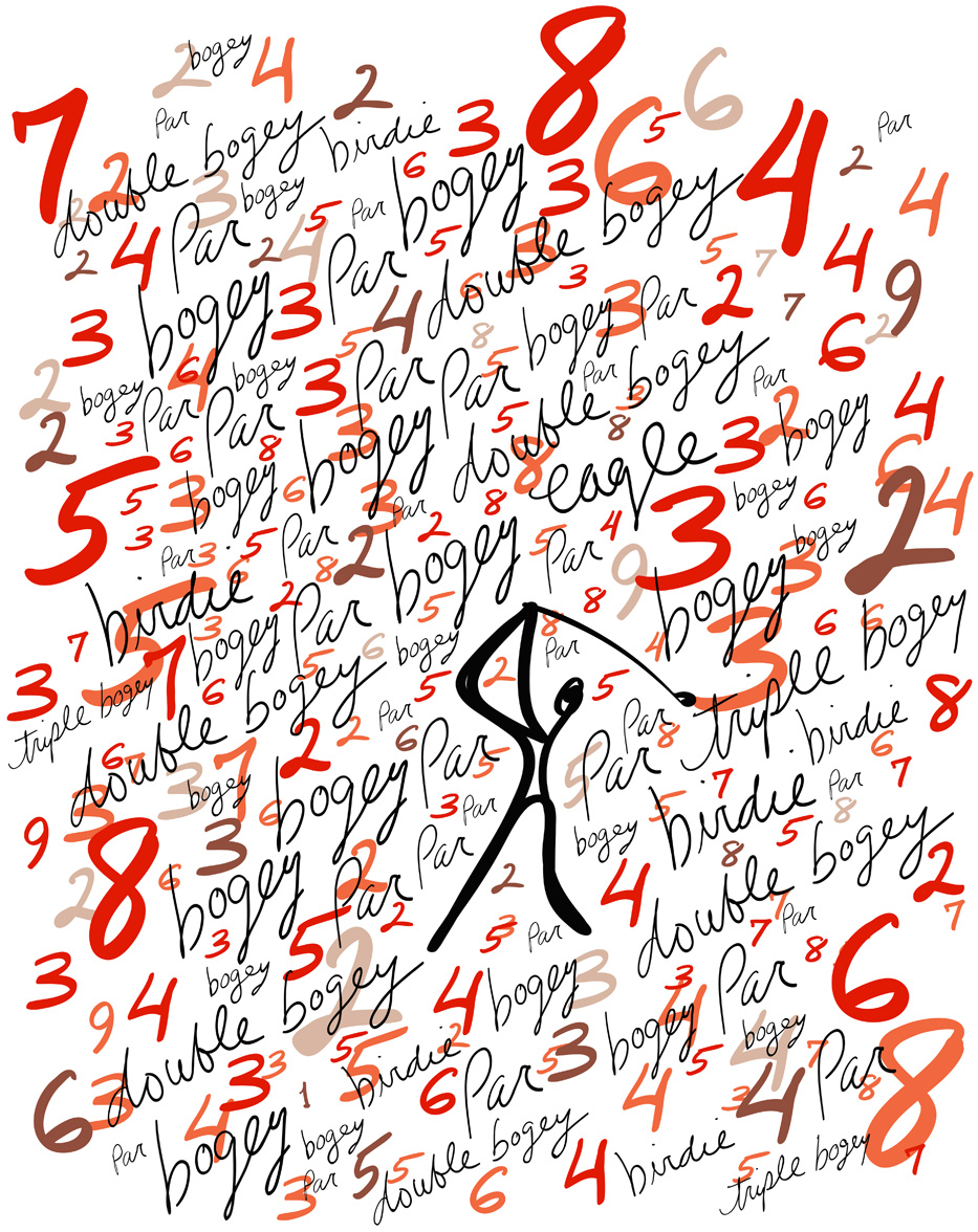 ^  Numbers Game   (crayon, gouache, wood grain, digital) 2011