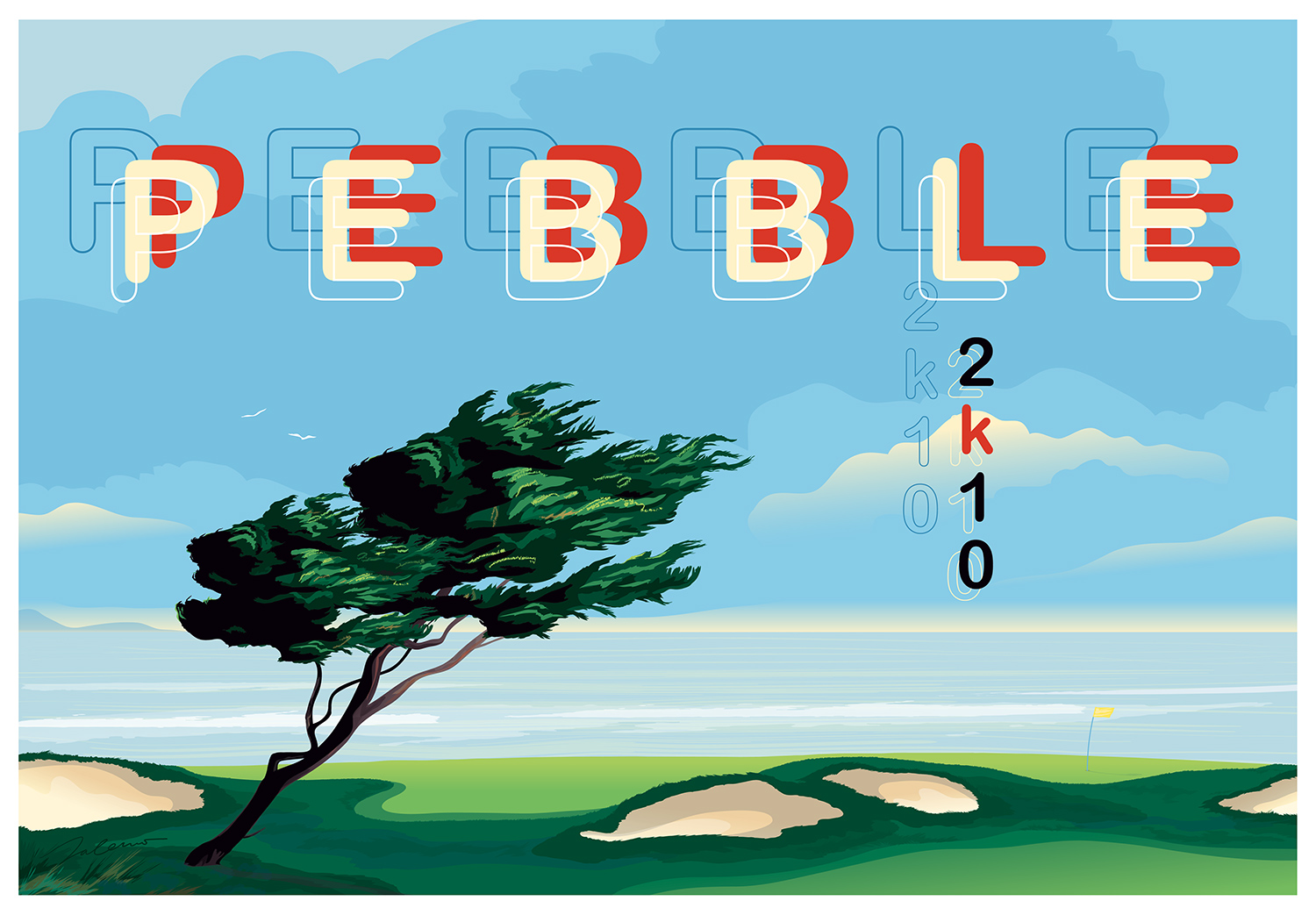 ^  golf poster created by  Steven Salerno … a view of the  Pebble Beach Golf Links  (digital)
