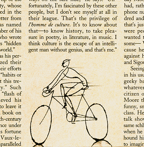 ^ cyclist - one of  Steven Salerno's  ink drawings within a series of small drawings created in 1992 for   The New Yorker     magazine.