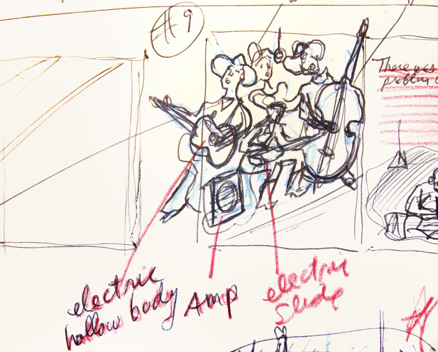 one of the rough preliminary storyboard thumbnail sketches for  Gizmos, Gadgets, and Guitars  –to begin working out which actions and events in the story will be illustrated… This one of a Western Swing Band trio testing out an early electrified acoustic guitar and an electric slide lap guitar.