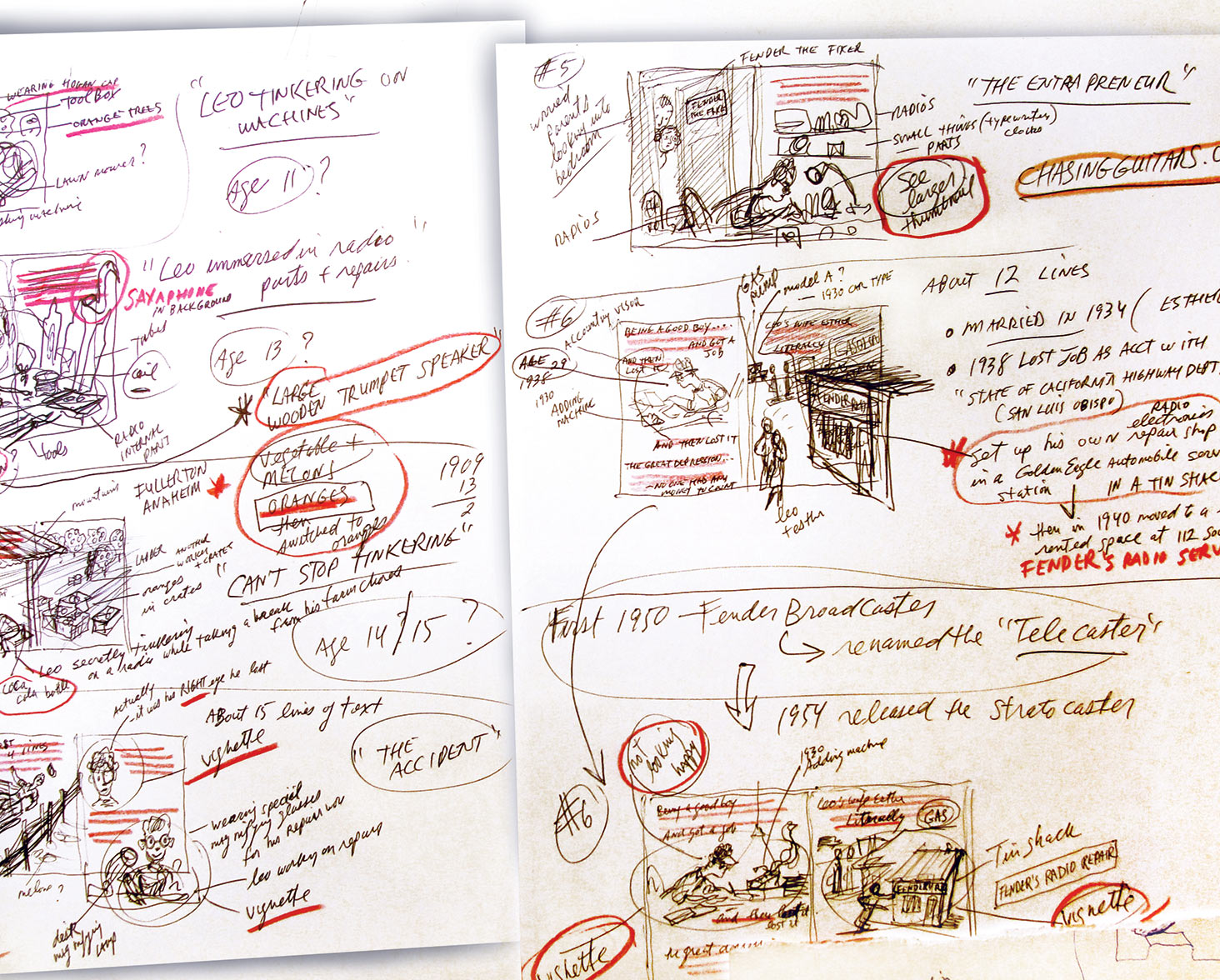 a sheet of rough preliminary storyboard thumbnail sketches for  Gizmos, Gadgets, and Guitars  –to begin working out which actions and events in the story will be illustrated…