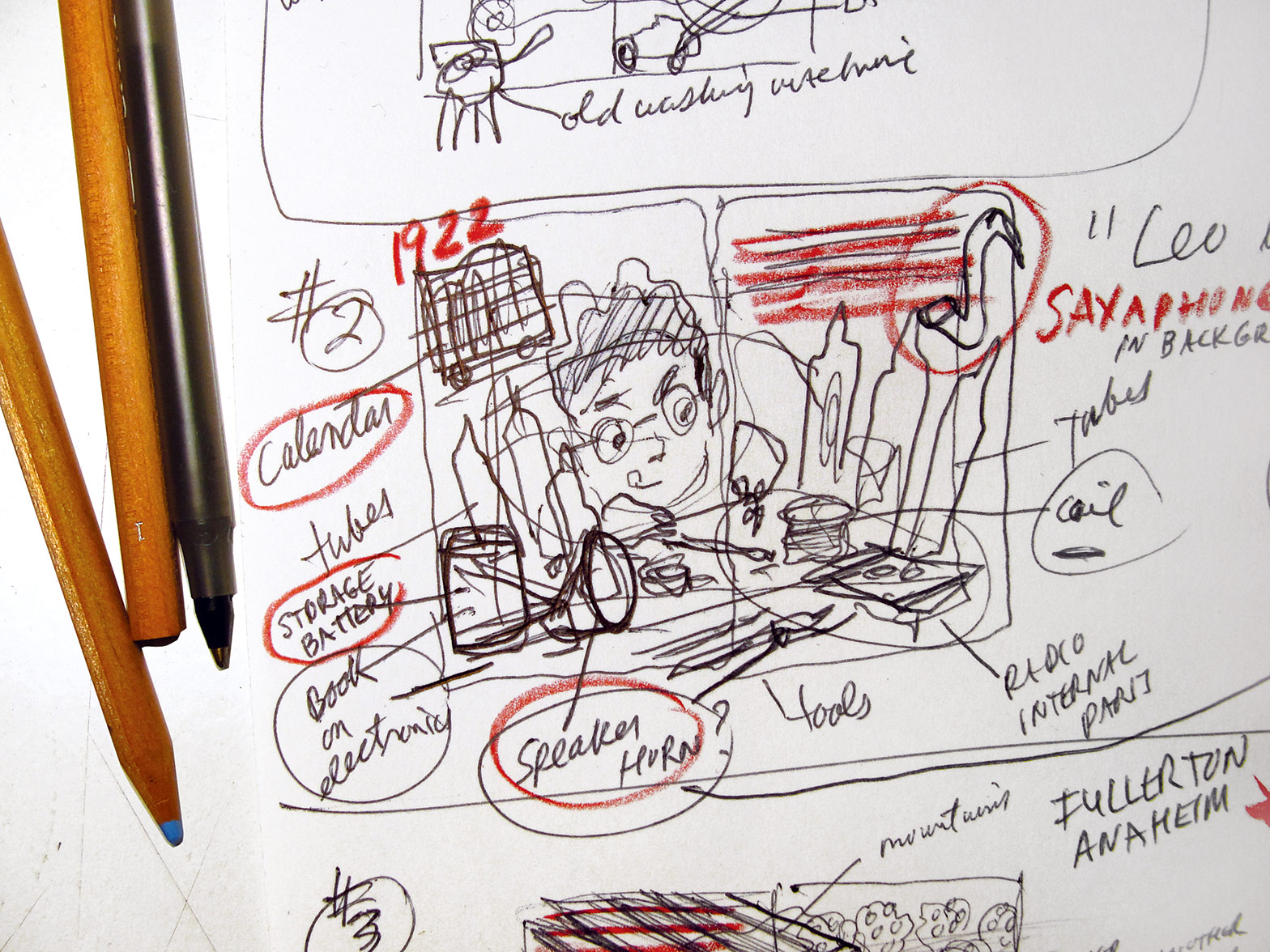 one of the rough preliminary storyboard thumbnail sketches for  Gizmos, Gadgets, and Guitars  –to begin working out which actions and events in the story will be illustrated… This one of Leo at age 12 when he first became interested in electronics.