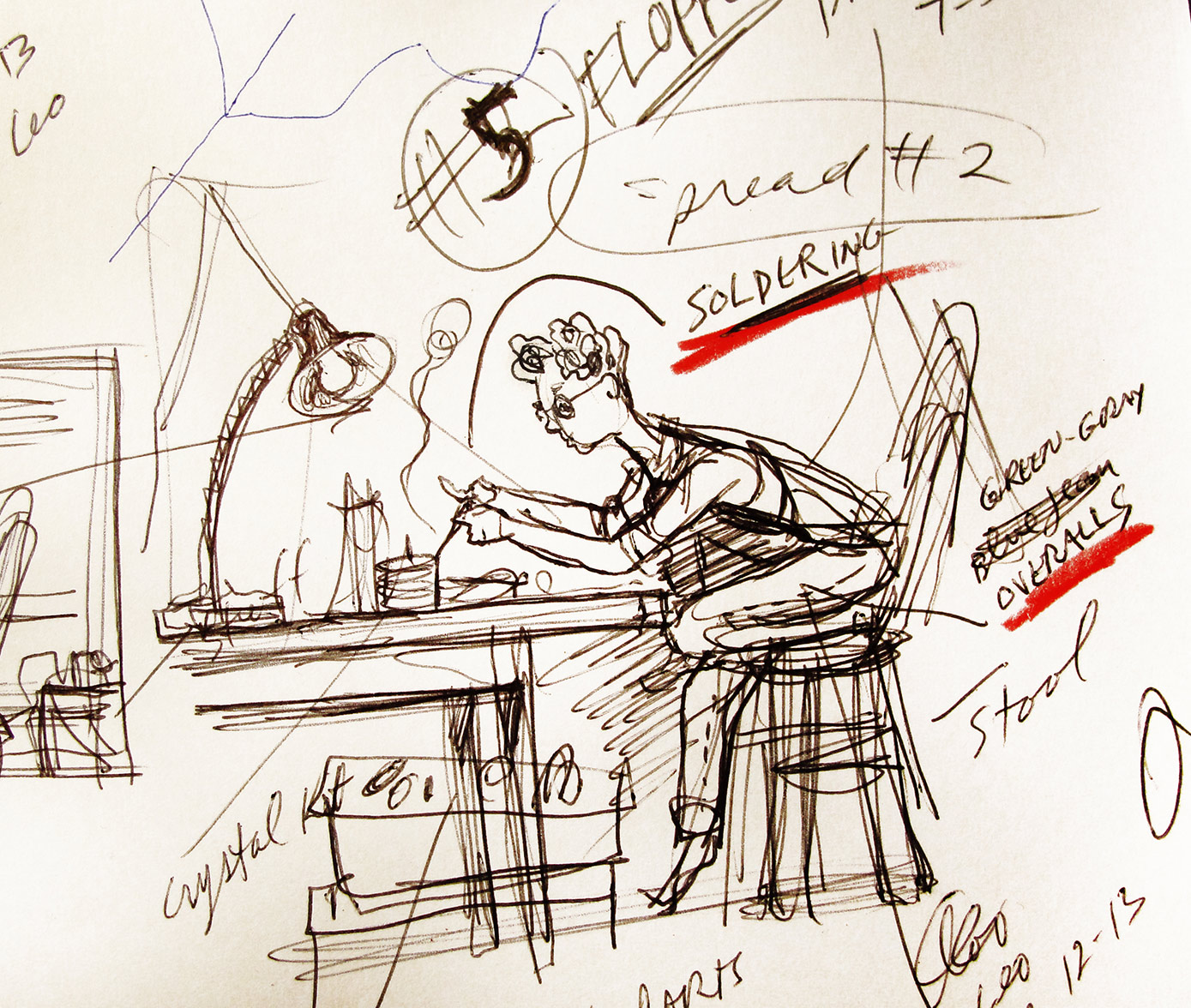 one of the rough preliminary storyboard thumbnail sketches for  Gizmos, Gadgets, and Guitars  –to begin working out which actions and events in the story will be illustrated… this one of teenage Leo Fender working on a radio for his first gadget repair business, operated out of his bedroom.