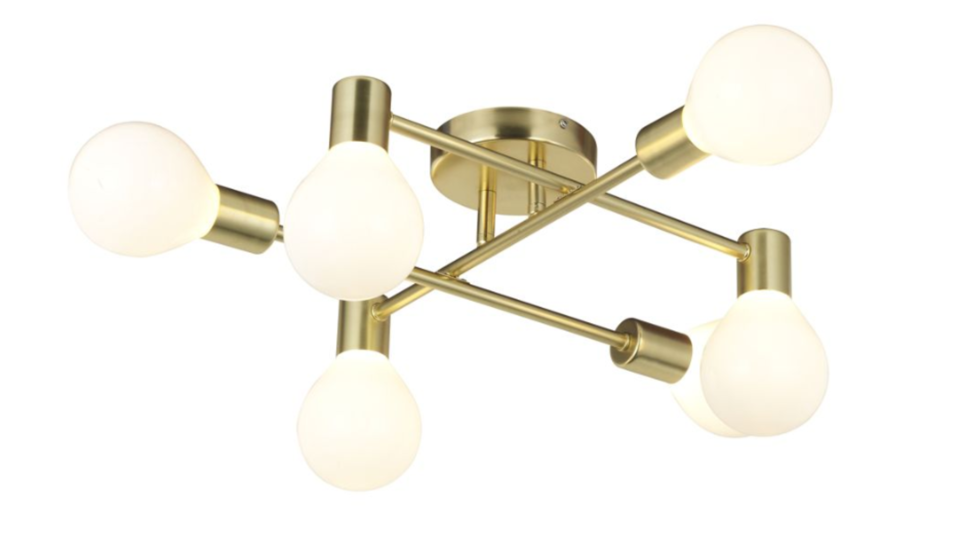 CHANNING BRUSHED GOLD MODERN CEILING LIGHT    £72  This is an alternative option to the living room light which I thought about before buying the chandelier. This was out of stock at the time which made the decision for me!