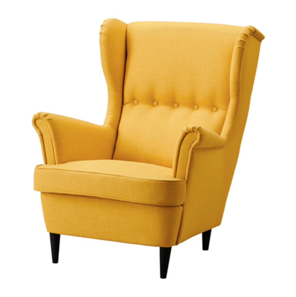 STRANDMON WINGBACK ARMCHAIR IN SKIFTEBO YELLOW   £179   Looks incredible with a navy feature wall and perfect to snuggle up in with a good book and a big blanket.