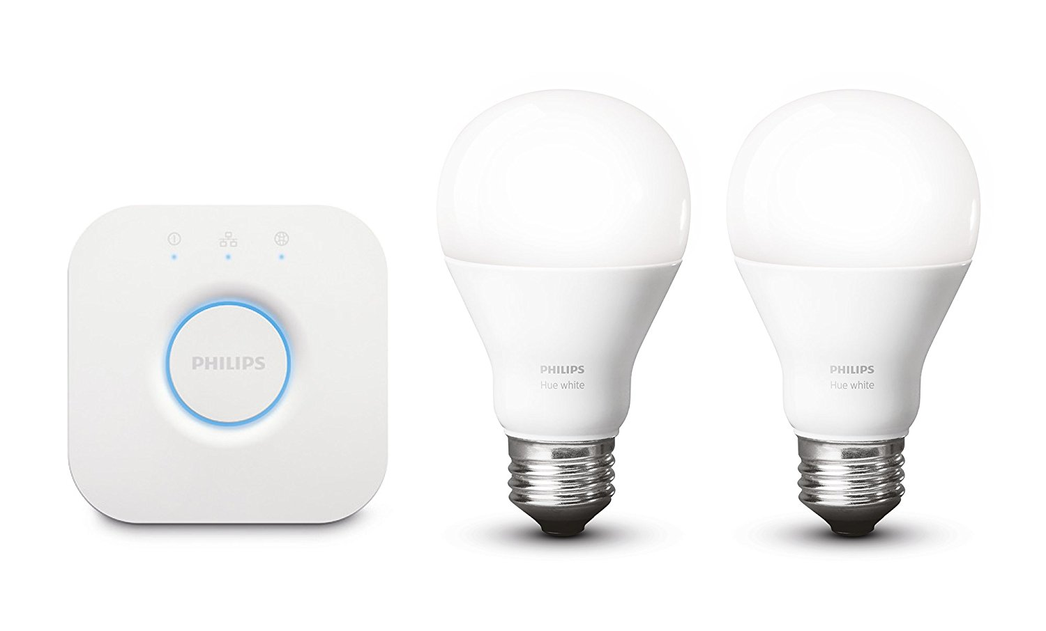 P    HILIPS HUE WHITE STARTER KIT    £54  Compatible with Alexa and Google assistant, these are the perfect way to voice activate your living room lighting. You can ever set automated programs and control via an app.