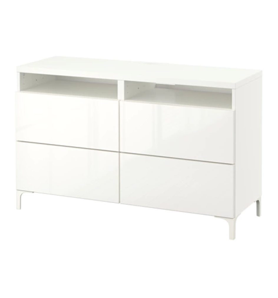 T  V BENCH WITH DRAWERS IN HIGH-GLOSS WHITE   £210  Sitting underneath our TV screen and soon to be alongside it too, this is great storage for a small space without being intrutsive or attracting attention.