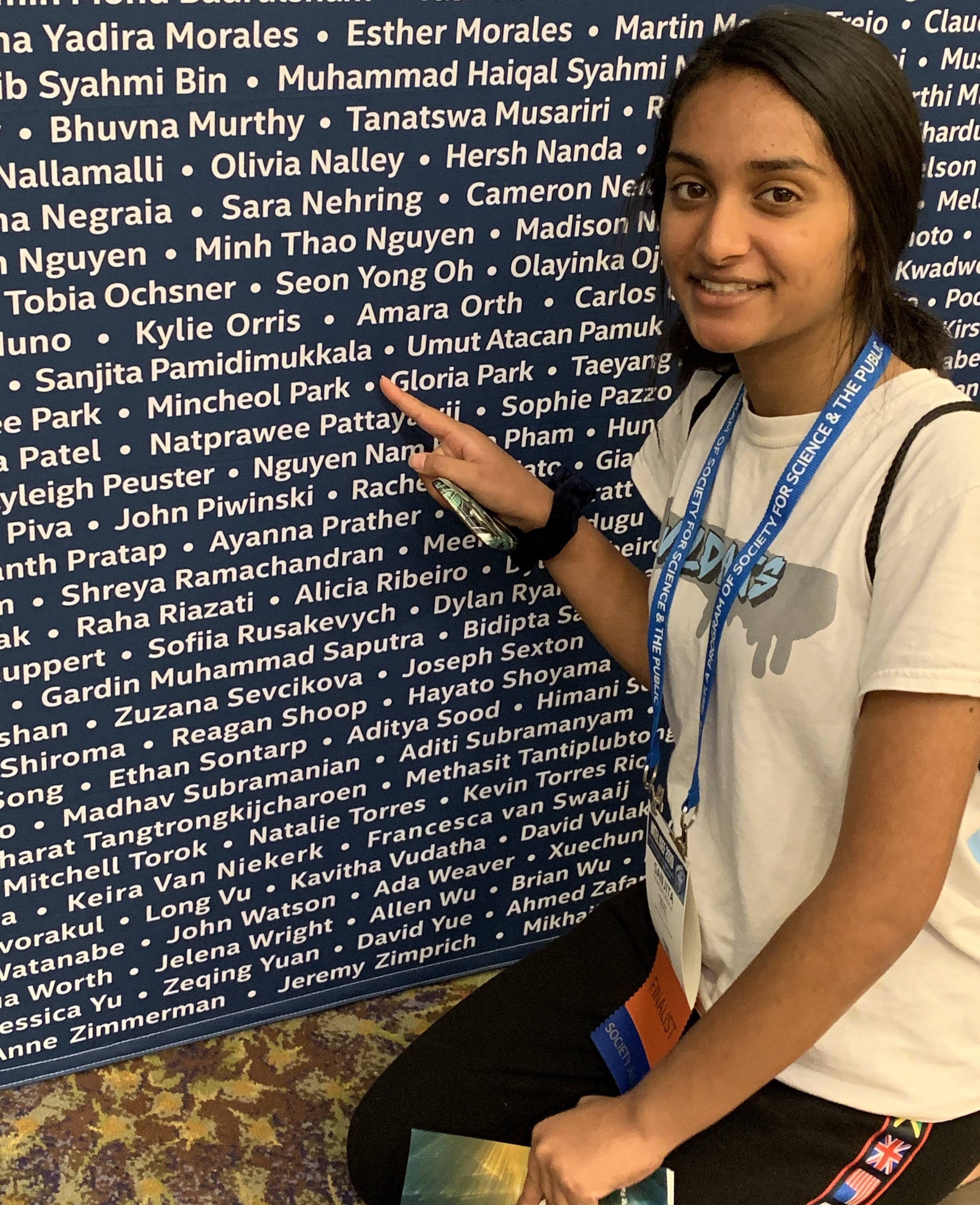 Sanjita at name board.jpg