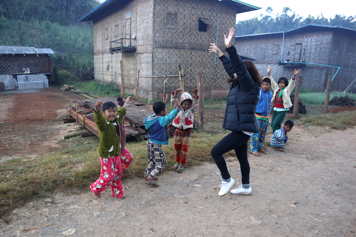 Michelle leads Christmas morning zumba classes in Koung Soung village