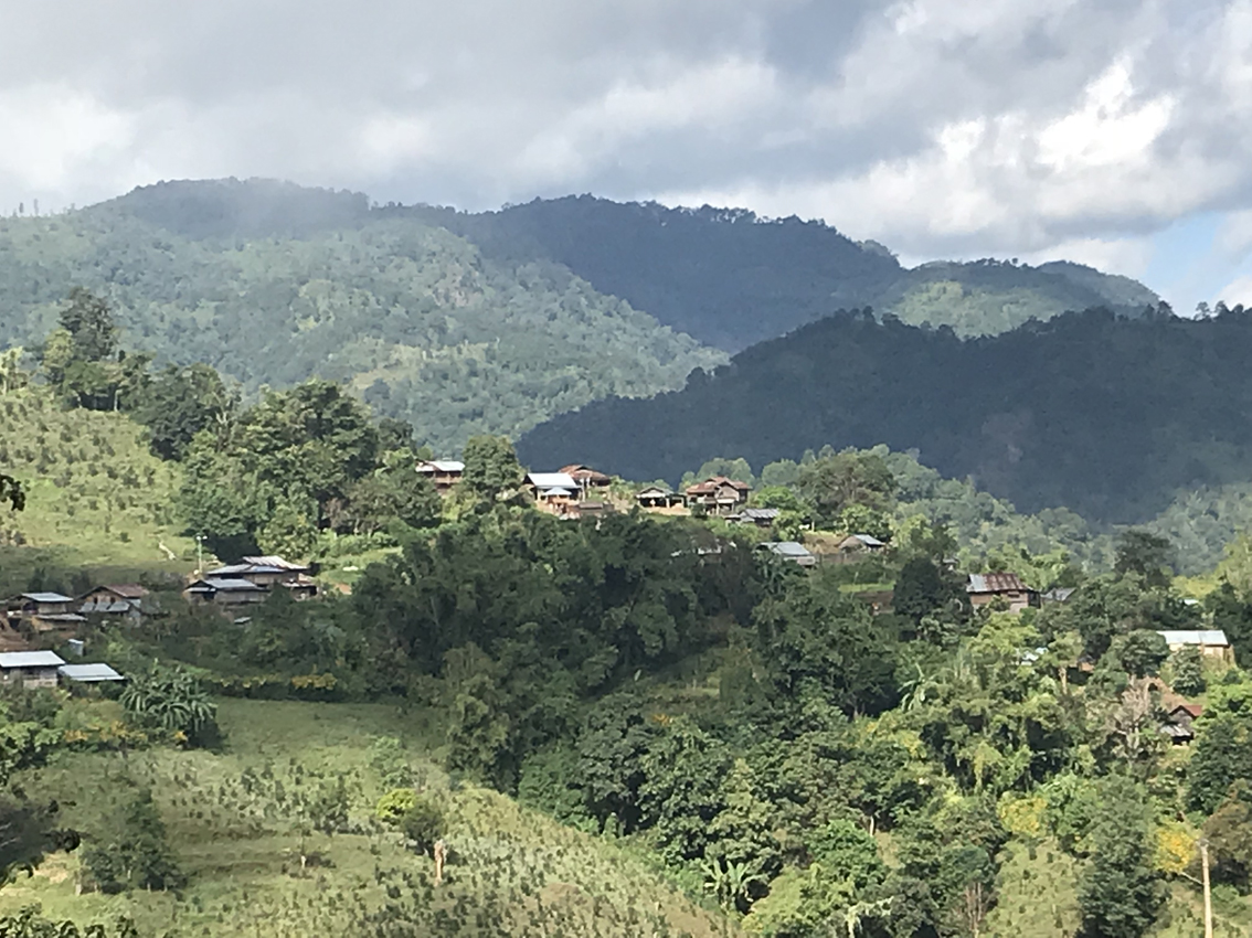 Scenery during our Hsipaw trek. The village is where we spent the night, the area is a big tea growing area.