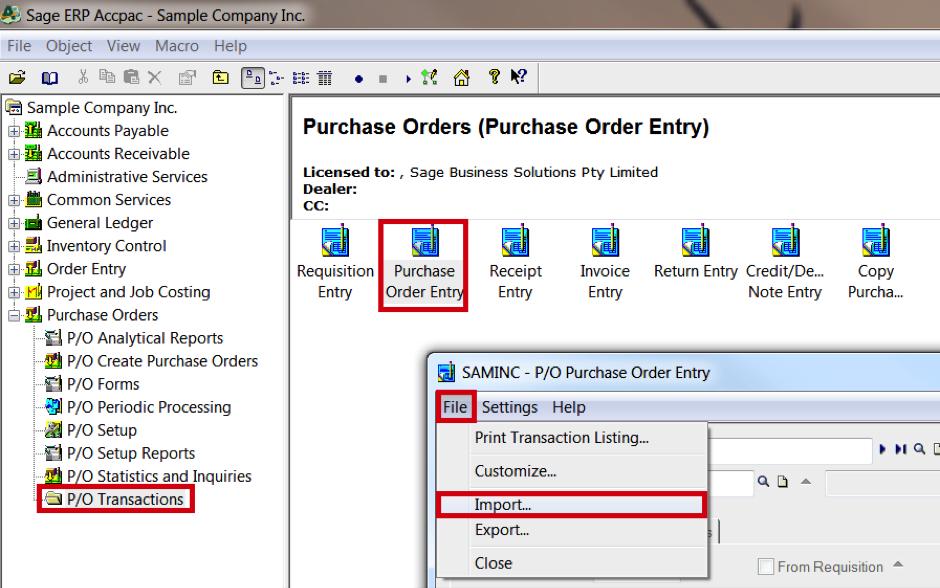 Orders upload - Sage 300 — NETSTOCK