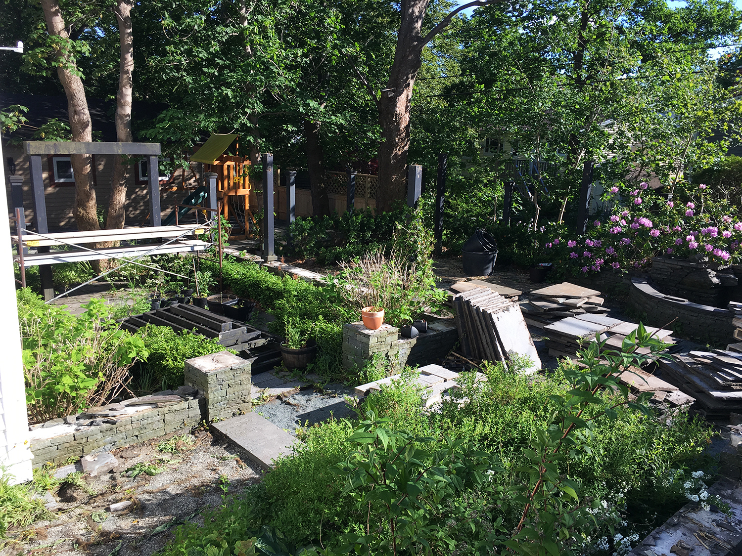07-12-18 /  It's demo day on our latest residential project. We're reusing this beautiful natural stone in the design of a new backyard space for these lucky homeowners.