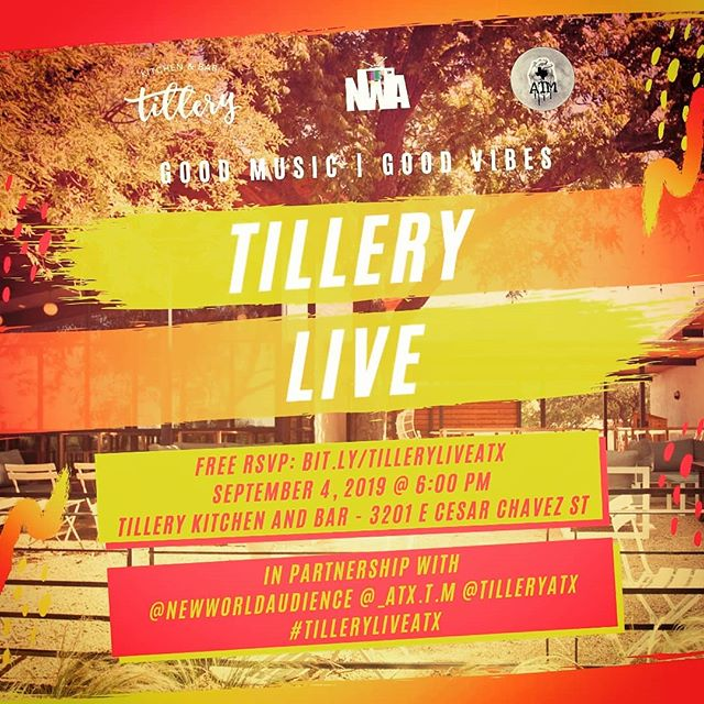 Join us at Tillery's second Tillery Live Show Wednesday, Sept 4th. FREE,  please RSVP @ BIT.LY/TILLERYLIVEATX