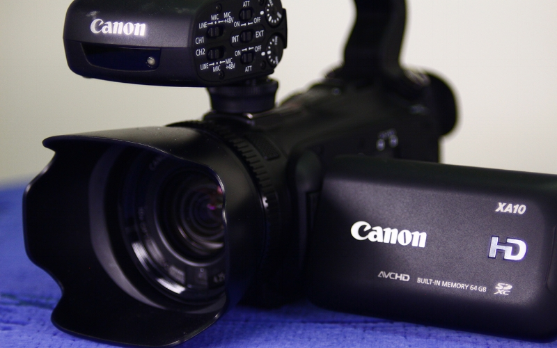 CANON XA10   Here we combine great audio and video capabilities with a small camera. The Canon XA10 offers members a step into the professional realm. A great intermediate camera, and if you're good you can really hone your video production skills with this camera.