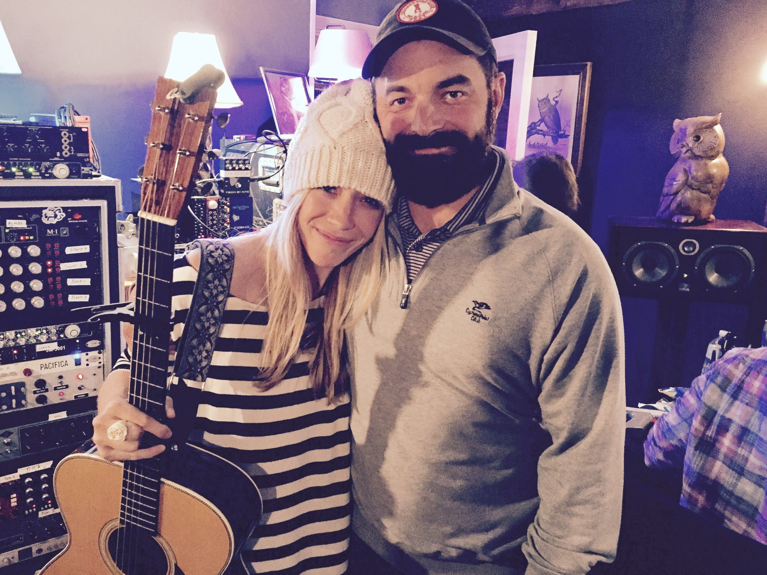 """So thankful to get to write and sing songs with my husband. This was taken just after we recorded the song we wrote together, """"Man of Sorrows"""""""