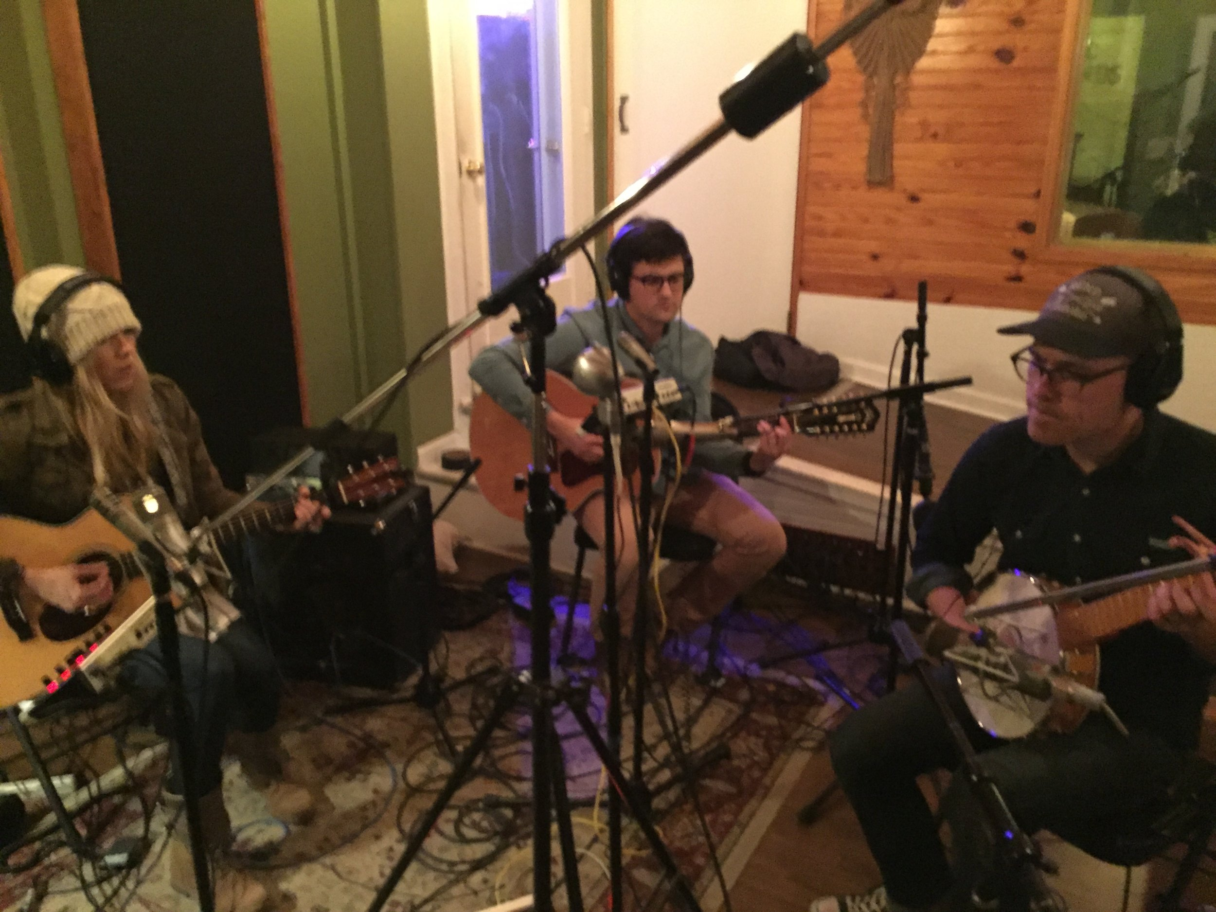 In the studio recording with my brother, Ben Bannister, and one of my producers, Ben Shive.