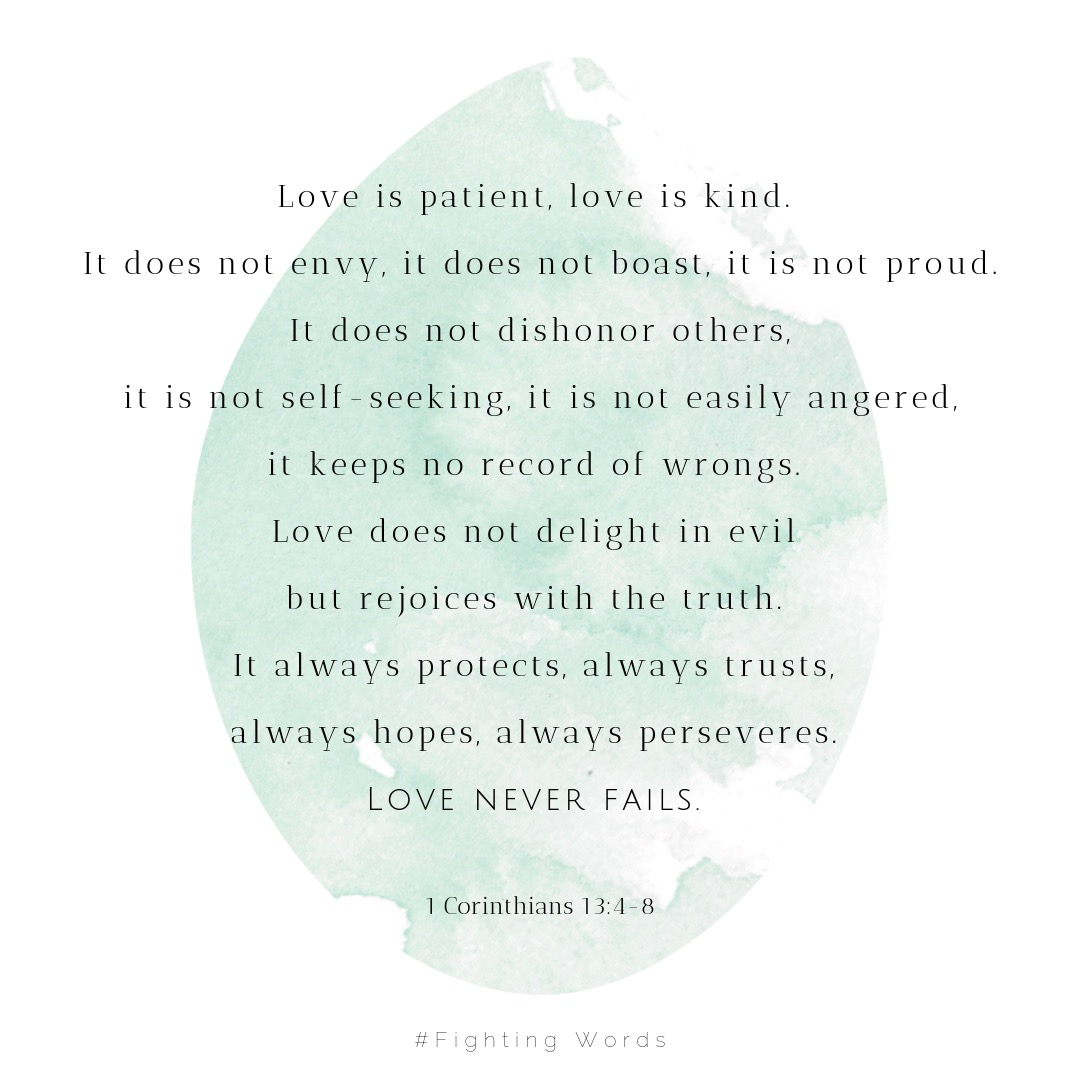Love is patient, love is kind. It does not envy, it does not boast, it is not proud. It does not dishonor others, it is not self-seeking, it is not easily angered, it keeps no record of wrongs. Love does not delight .jpeg