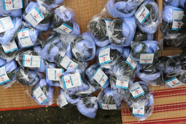 Packs of fishing nets after they have been made by women working in their homes in Thailand. The women are paid less than living wages. The fishing nets are sold throughout Asia. Source: Shelley Marshall