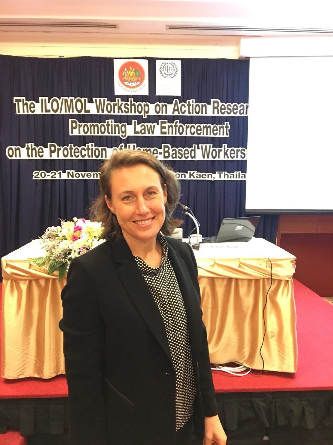 Shelley at an ILO workshop in Thailand