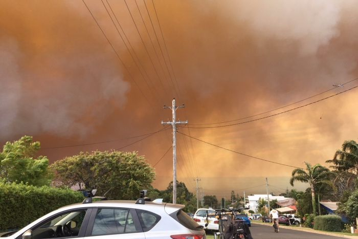 Smoke rises above Tathra. Image taken by Peta Doherty for  ABC news