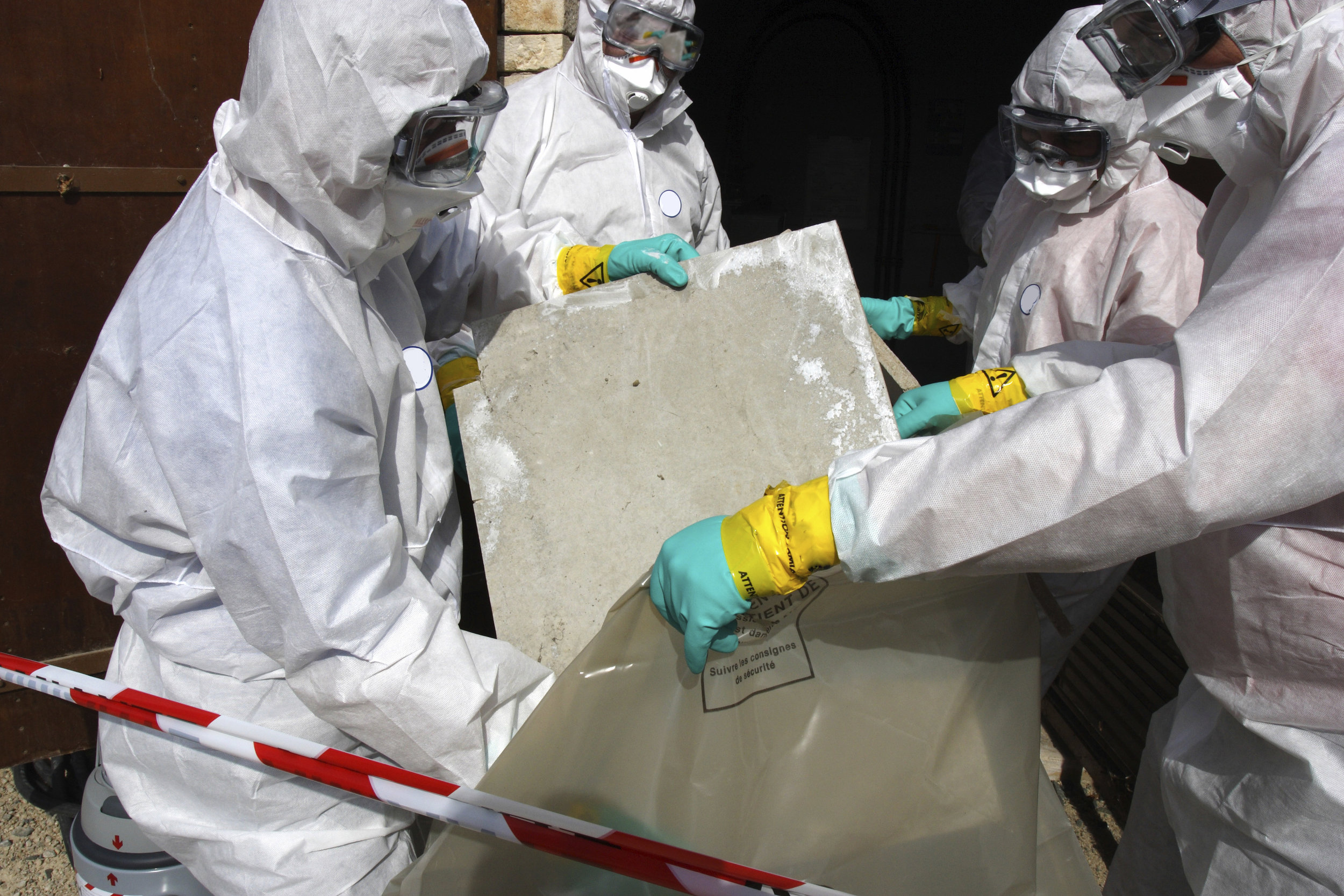When disposing of asbestos it is important to wear the proper protective gear to prevent inhalation of fibres.
