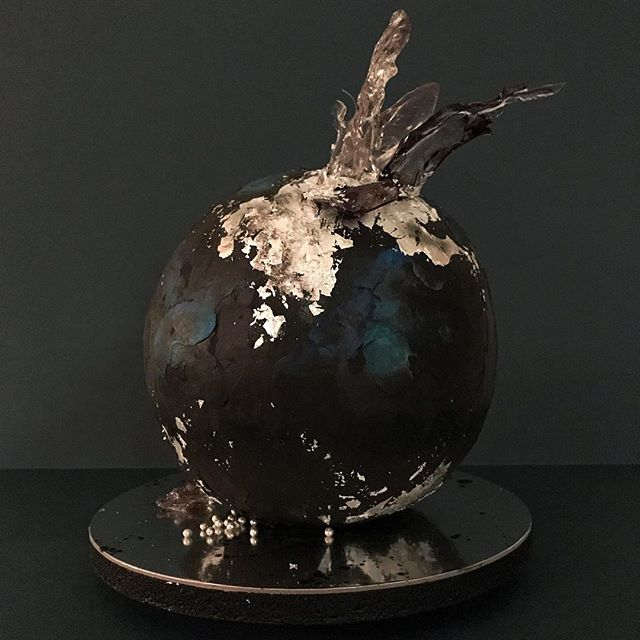 An outer-space inspired sphere cake for a special 30th birthday surprise party! 🌑 Inside: A dark chocolate dream made with black cocoa and @brooklynbrewery's Black Chocolate Stout (adapted from  @ovenly's delicious recipe!) and dark chocolate ganache. Outside: Ganache, buttercream, silver leaf, and sugar glass.