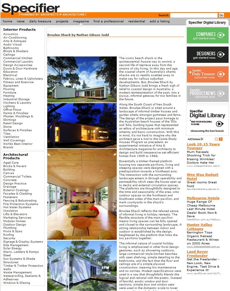Specifier Magazine Issue 93, Broulee Shack